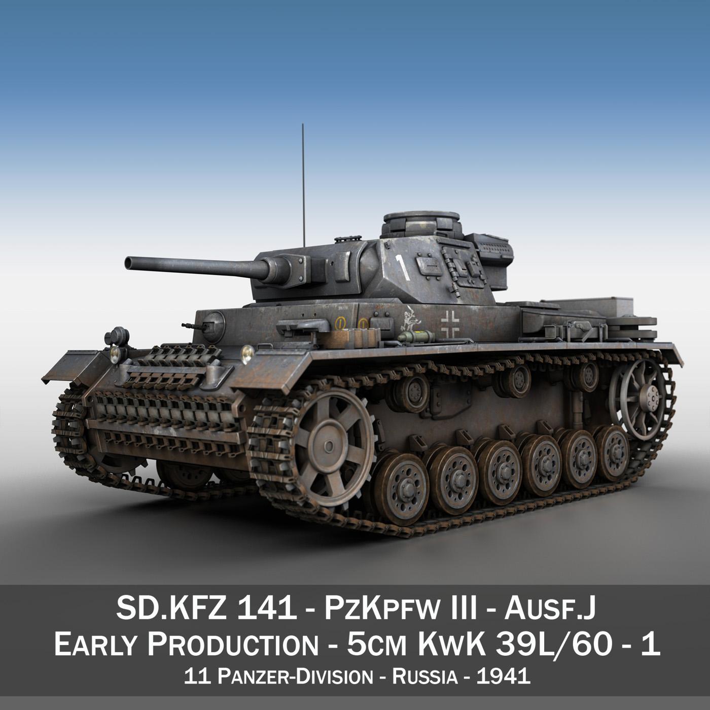 pzkpfw iii – panzer 3 – ausf.j – 1k 3d model lwo lw lws obj c4d 3ds fbx 266444
