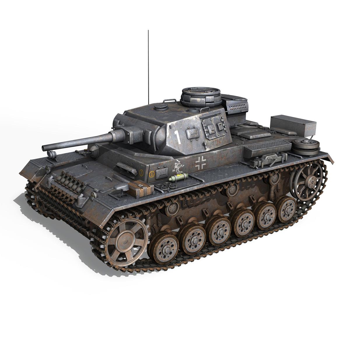 pzkpfw iii – panzer 3 – ausf.j – 1k 3d model lwo lw lws obj c4d 3ds fbx 266446