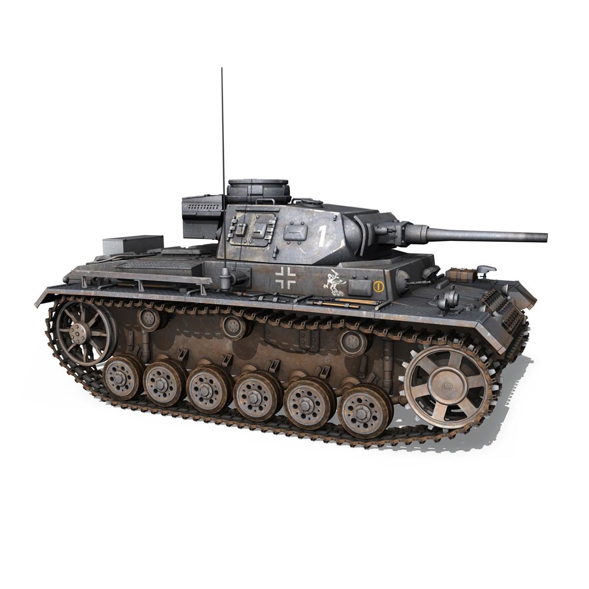 pzkpfw iii – panzer 3 – ausf.j – 1k 3d model lwo lw lws obj c4d 3ds fbx 266450