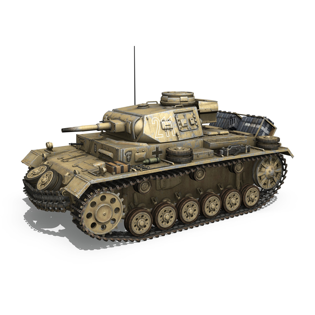 pzkpfw iii – panzer 3 – ausf.g – dak – 211 3d model 3ds c4d fbx lwo lw lws obj 266464