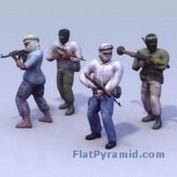 3d model of characters with weapons