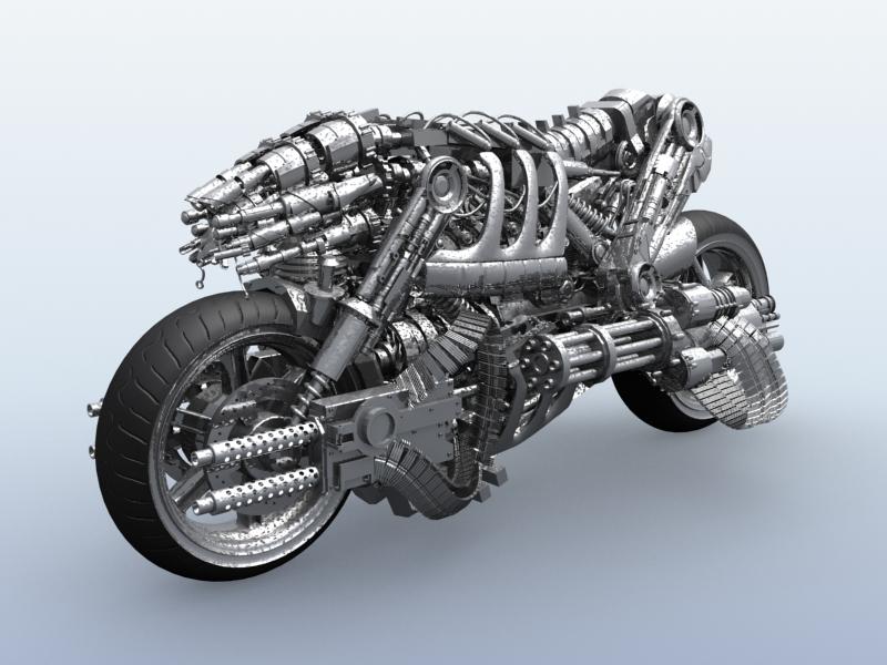 terminator robot motorcycle 3d model 3ds max fbx obj 170702