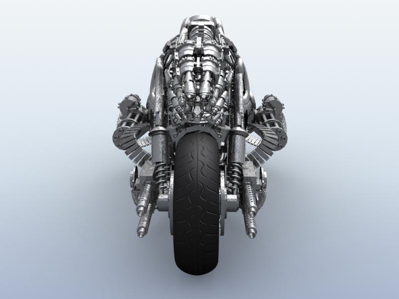 terminator robot motorcycle 3d model 3ds max fbx obj 170703