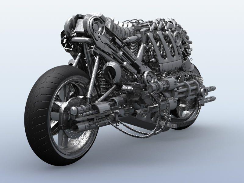 terminator robot motosiklet 3d model 3ds max fbx obj 170704