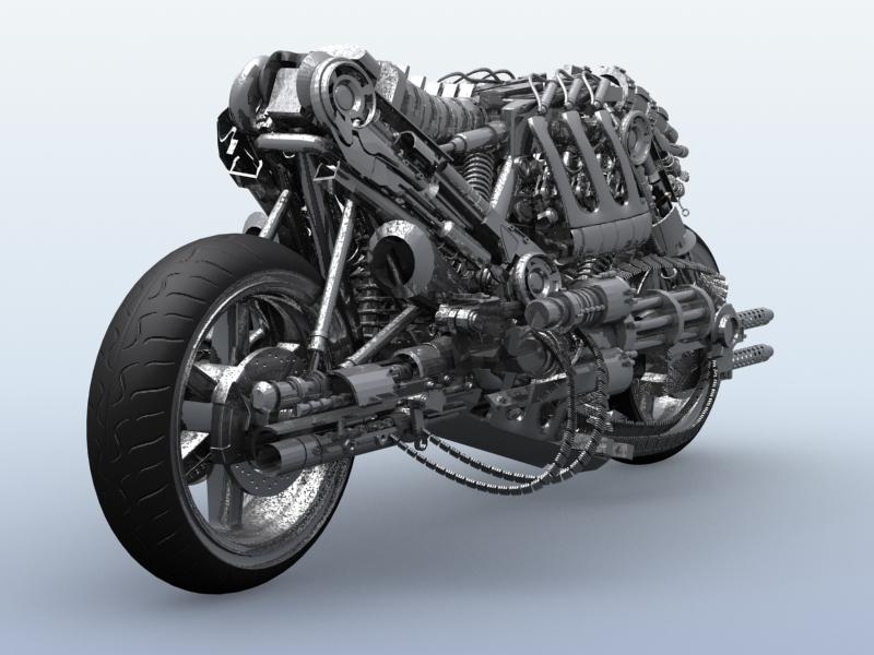 terminator robot motorcycle 3d model 3ds max fbx obj 170704