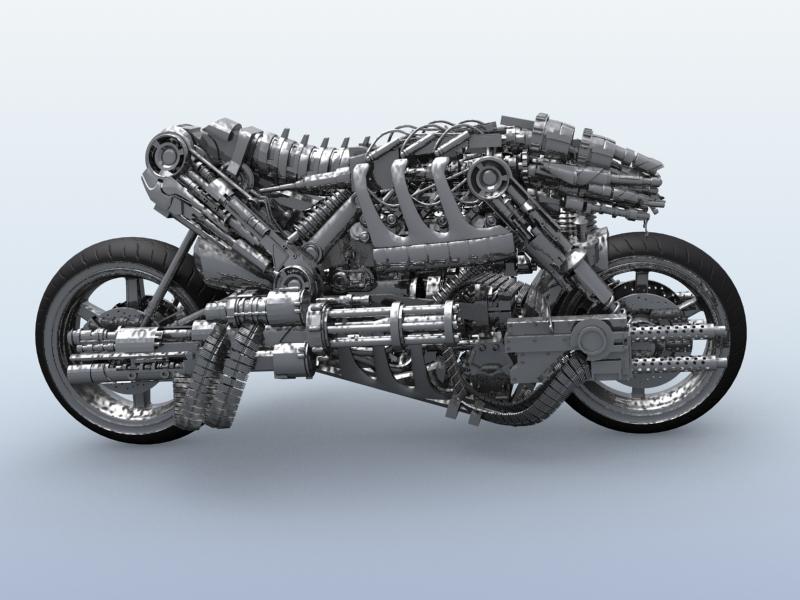 terminator robot motorcycle 3d model 3ds max fbx obj 170705