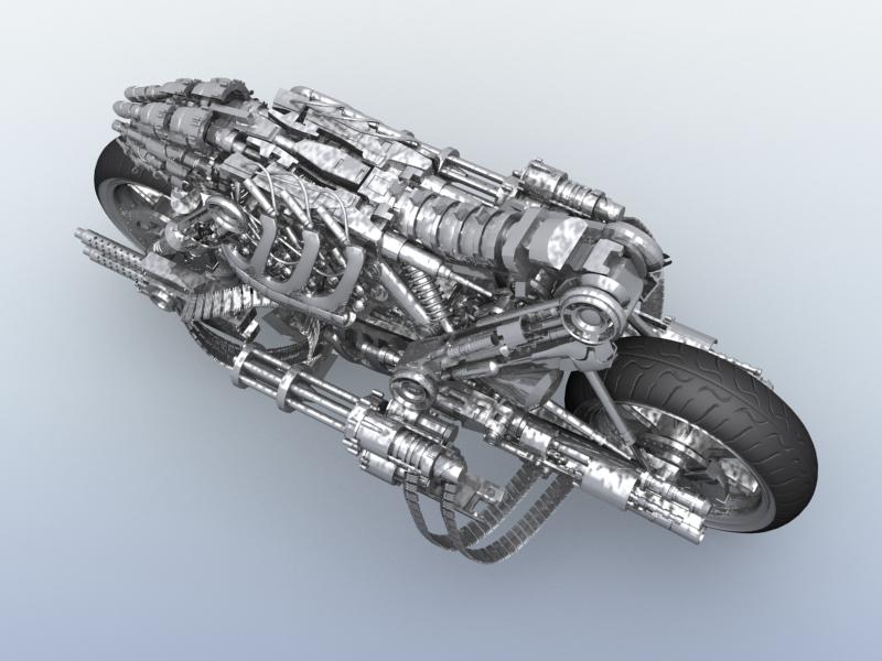 terminator robot motorcycle 3d model 3ds max fbx obj 170706