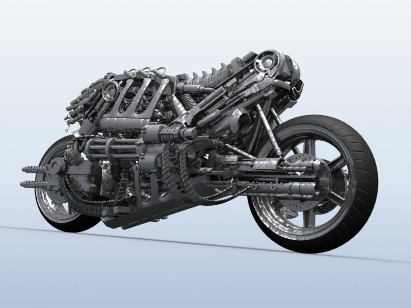 terminator robot motosiklet 3d model 3ds max fbx obj 170707