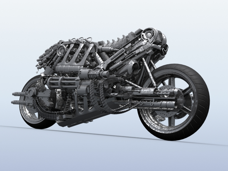 terminator robot motorcycle 3d model 3ds max fbx obj 170707