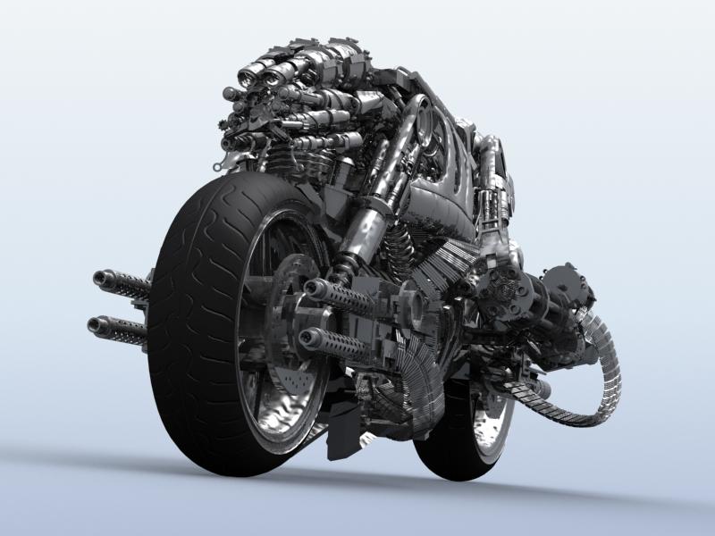 terminator robot motorcycle 3d model 3ds max fbx obj 170708