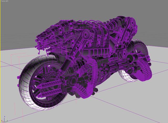 terminator robot motorcycle 3d model 3ds max fbx obj 170709