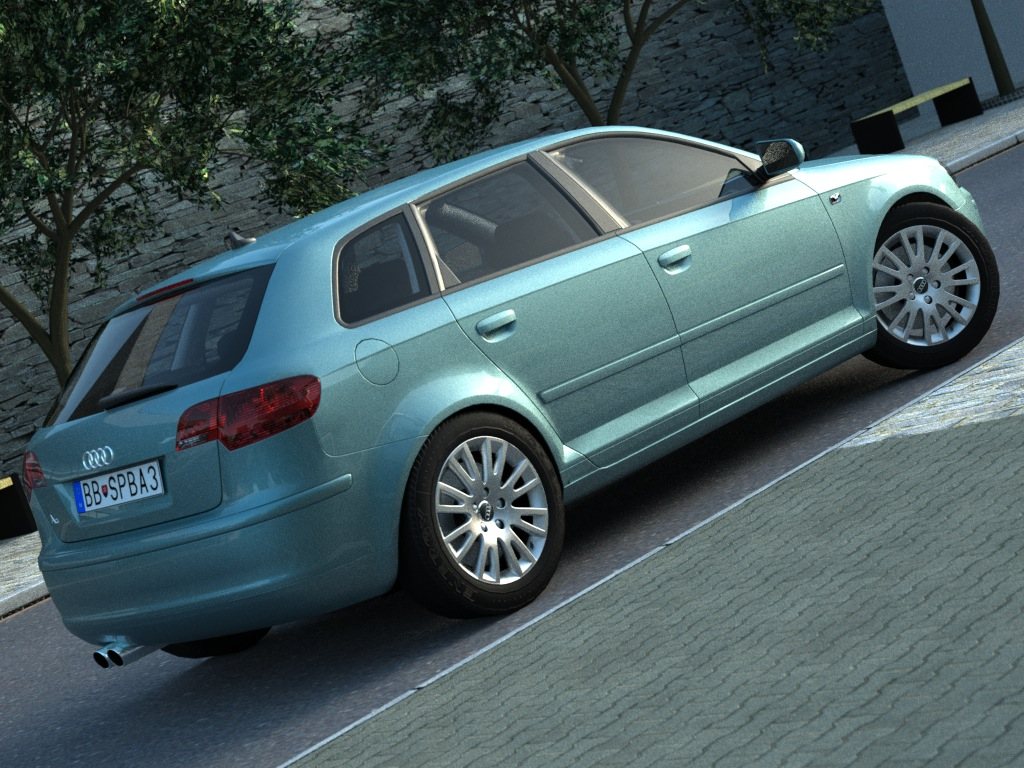audi a3 sportback 2005 3d model buy audi a3 sportback. Black Bedroom Furniture Sets. Home Design Ideas