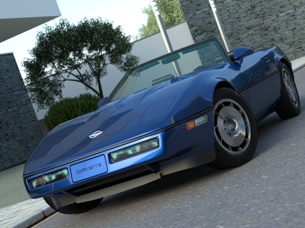 corvette convertible (1986) 3d model 3ds max fbx c4d obj 175967