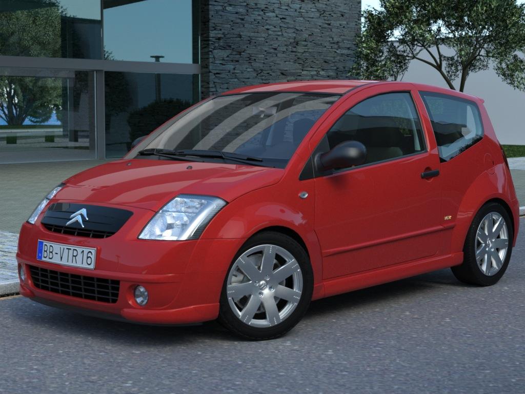 citroen c2 (2004) 3d model 3ds max fbx c4d obj 176021
