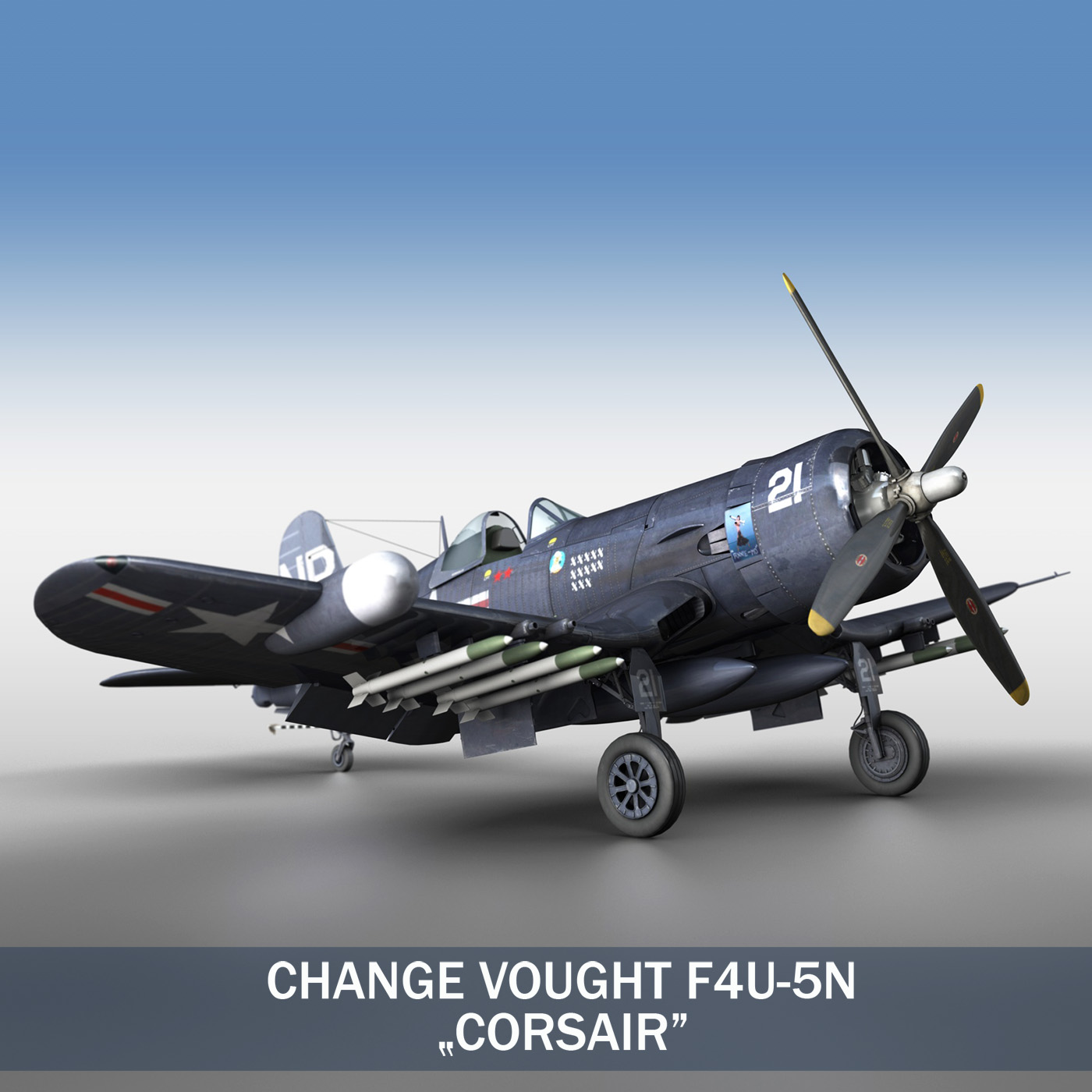 newid vought f4u 5n corsair 3d model 3ds fbx c4d lwo obj 187325