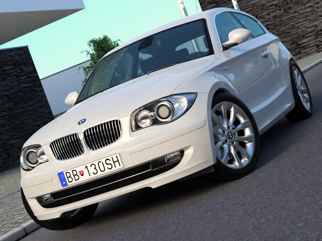 BMW 1 series 3 door (2009) 3d model 3ds max fbx c4d obj 187425