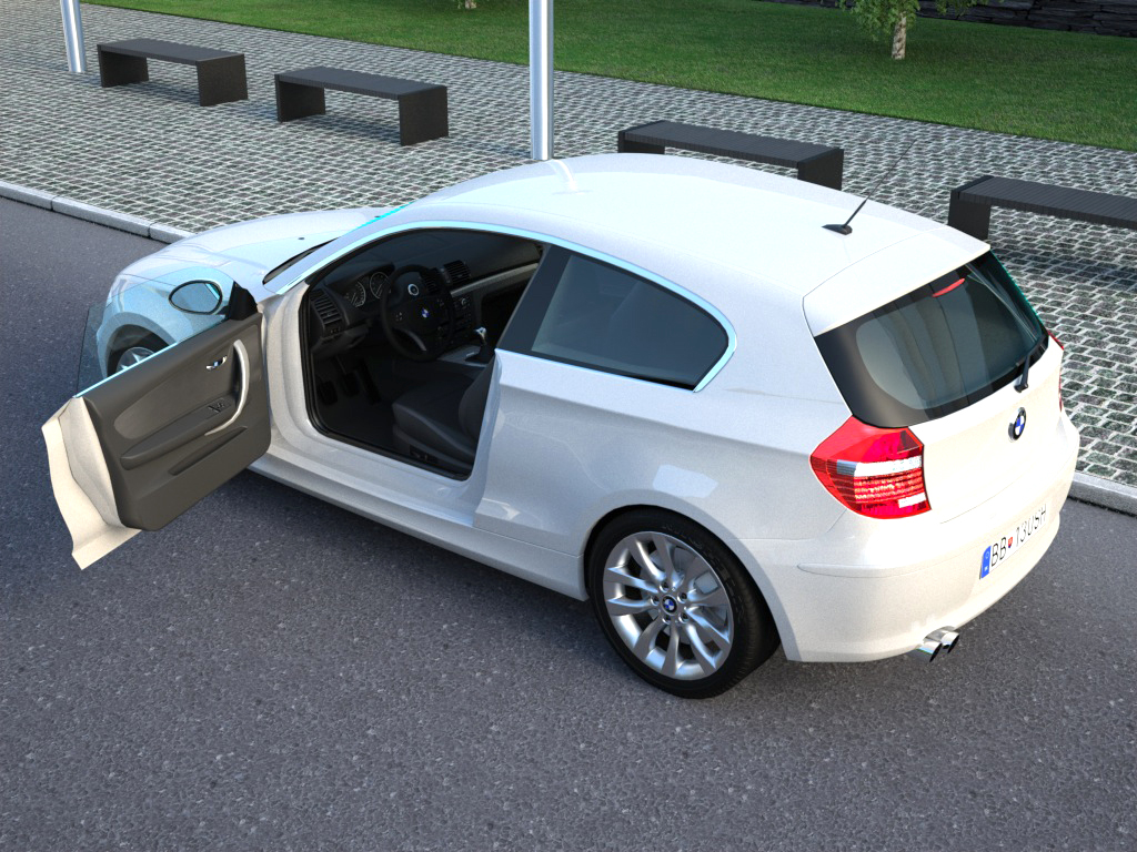 bmw 1 series 3 door 2009 3d model flatpyramid. Black Bedroom Furniture Sets. Home Design Ideas