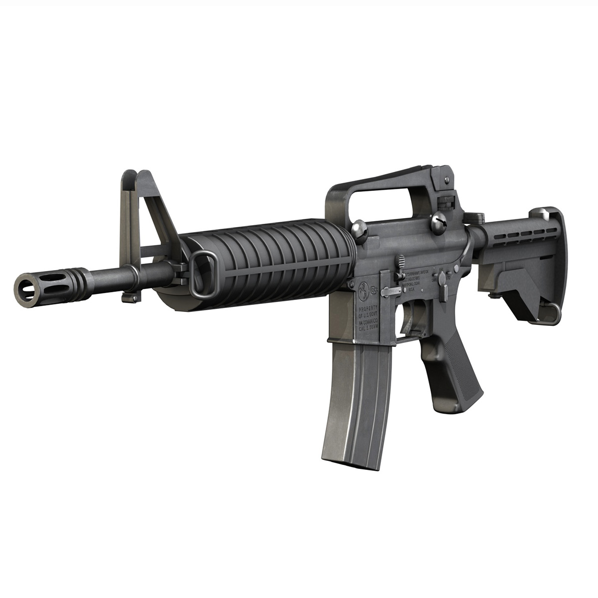 colt m4 commando assault rifle 3d model 3ds fbx c4d lwo obj 187495