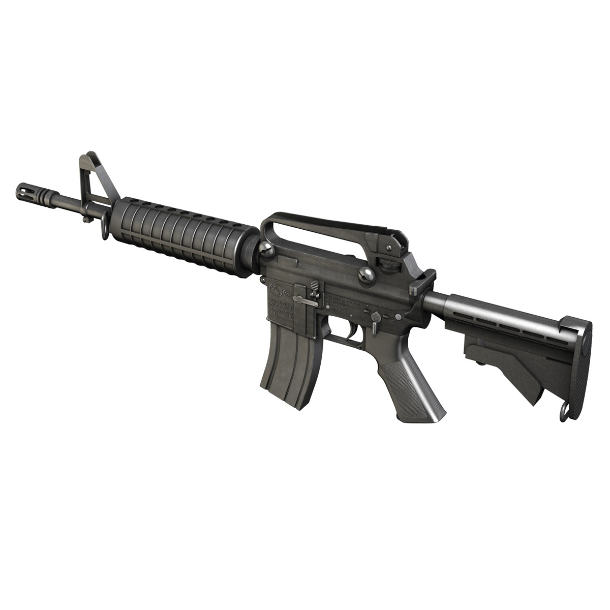 colt m4 commando assault rifle 3d model 3ds fbx c4d lwo obj 187497