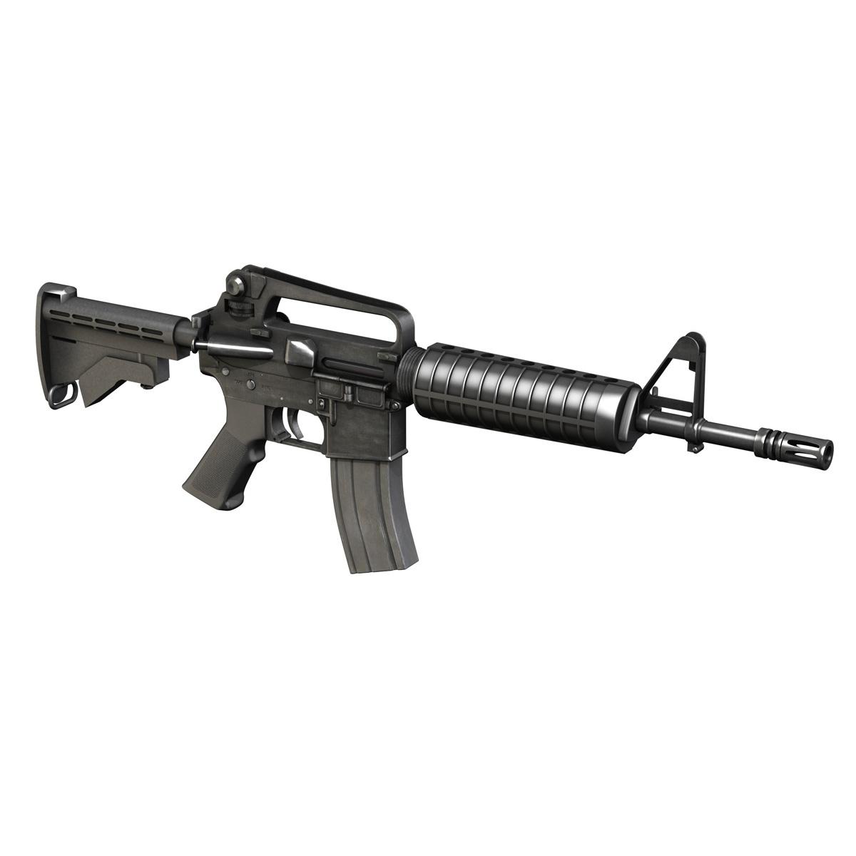 colt m4 commando assault rifle 3d model 3ds fbx c4d lwo obj 187499