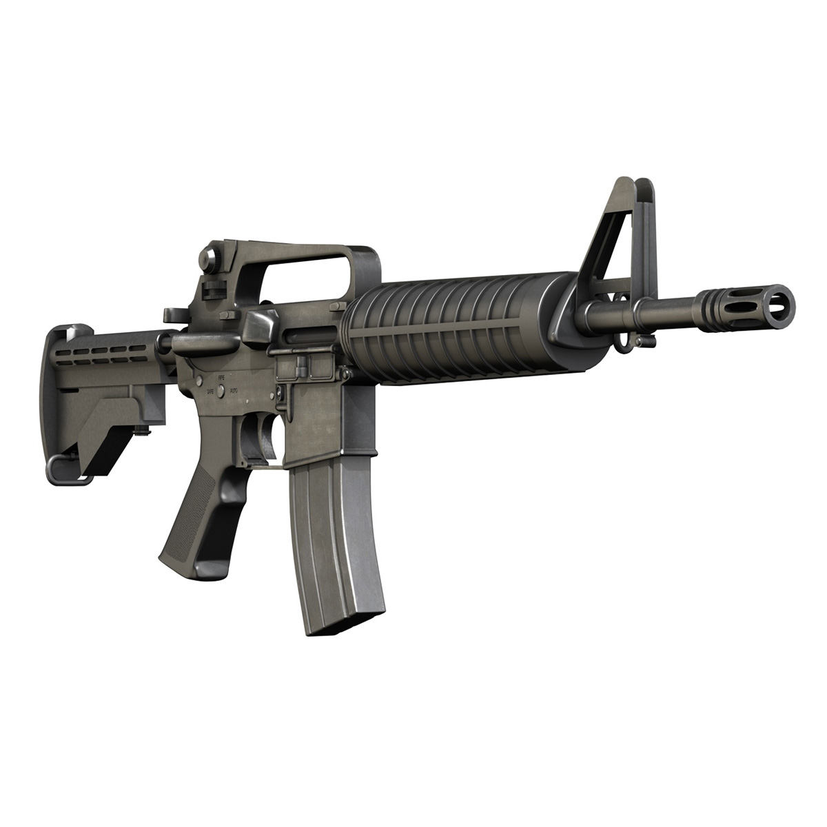 colt m4 commando assault rifle 3d model 3ds fbx c4d lwo obj 187500