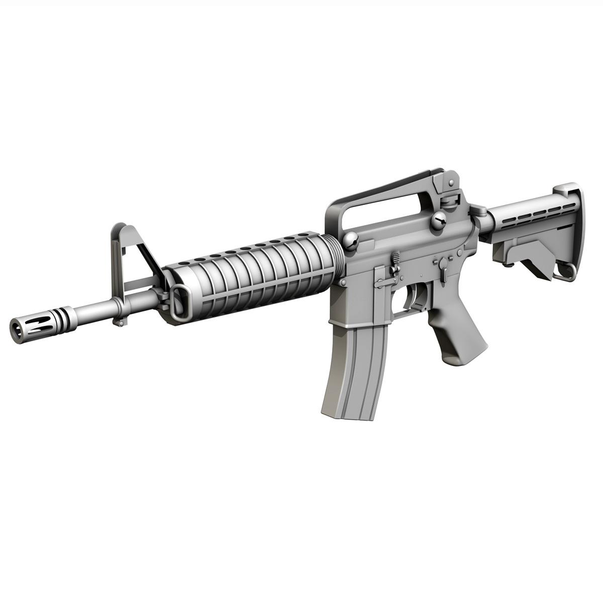 colt m4 commando assault rifle 3d model 3ds fbx c4d lwo obj 187502