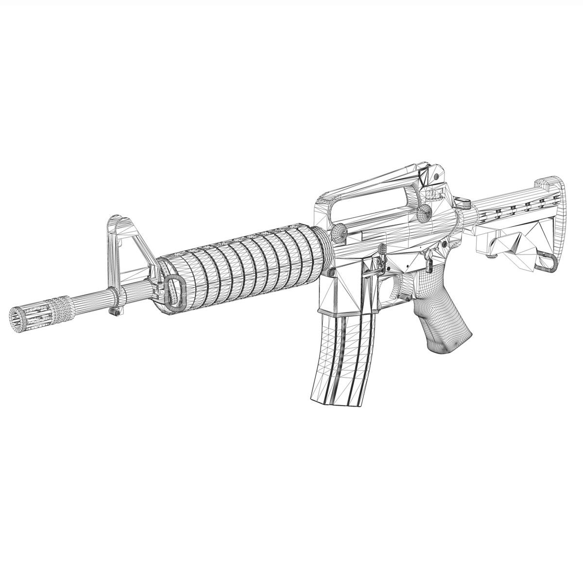 colt m4 commando assault rifle 3d model 3ds fbx c4d lwo obj 187503
