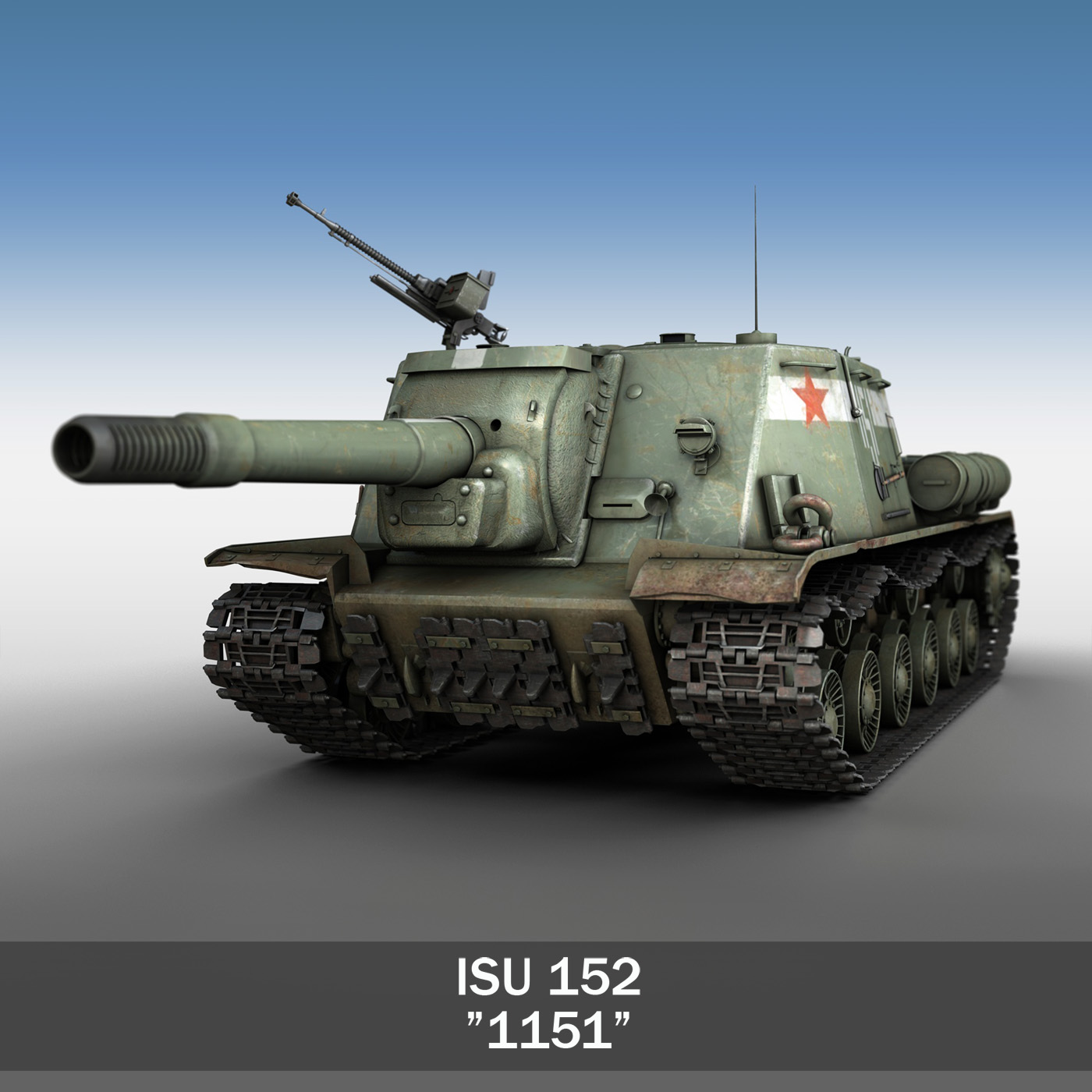 isu 152 soviet heavy self propelled gun 3d model 3ds fbx c4d lwo obj 187525