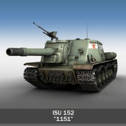ISU 152 Soviet heavy self propelled gun 3d model 3ds fbx c4d lwo lws lw obj