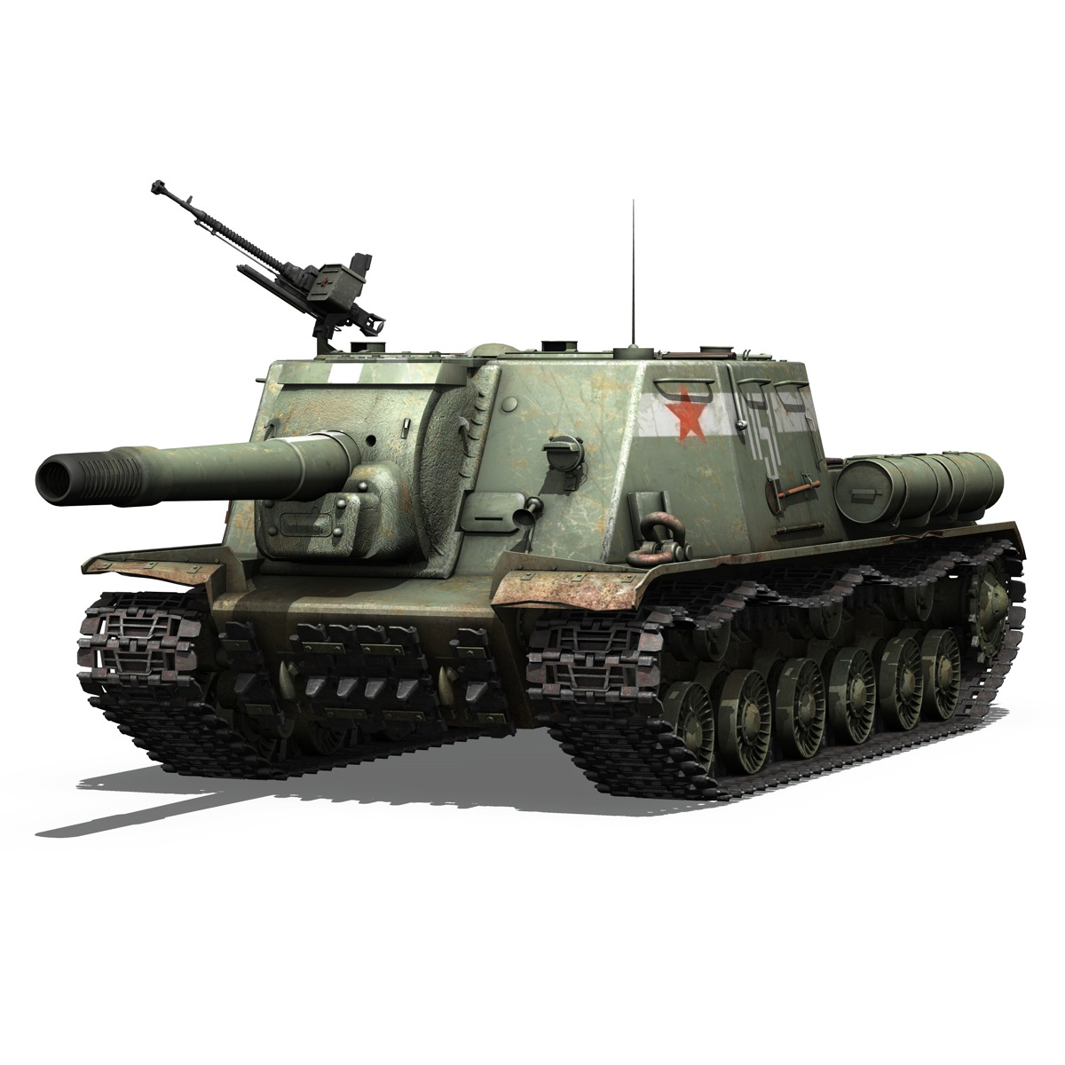 isu 152 soviet heavy self propelled gun 3d model 3ds fbx c4d lwo obj 187526