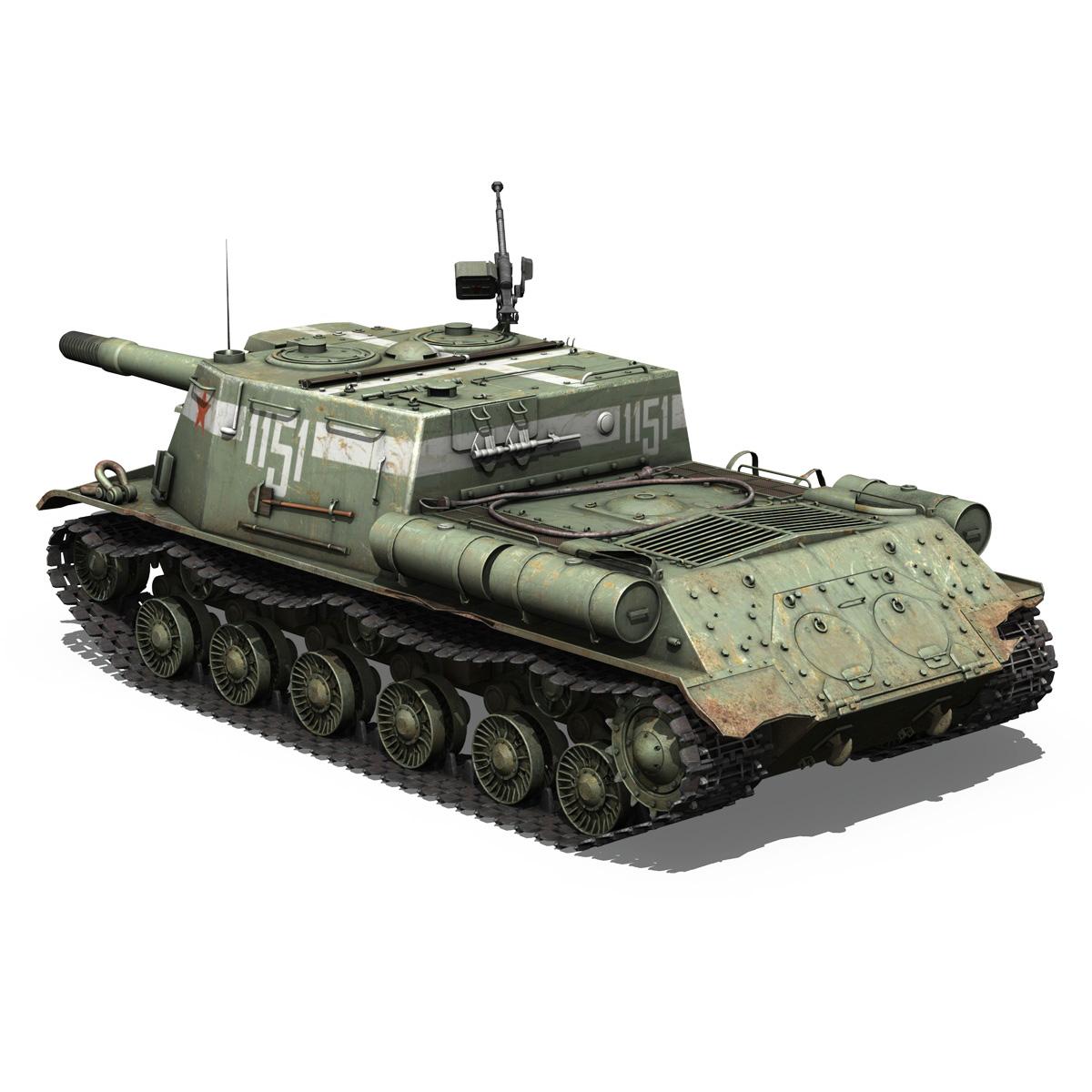 isu 152 soviet heavy self propelled gun 3d model 3ds fbx c4d lwo obj 187528