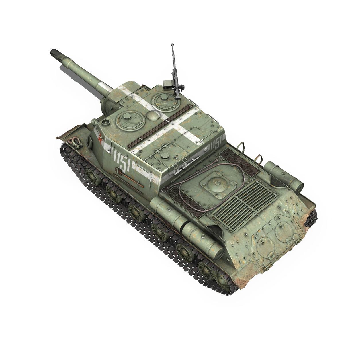 isu 152 soviet heavy self propelled gun 3d model 3ds fbx c4d lwo obj 187529