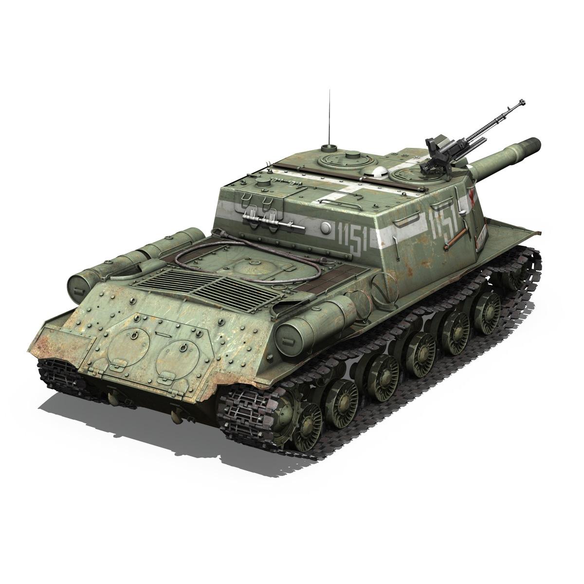 isu 152 soviet heavy self propelled gun 3d model 3ds fbx c4d lwo obj 187530