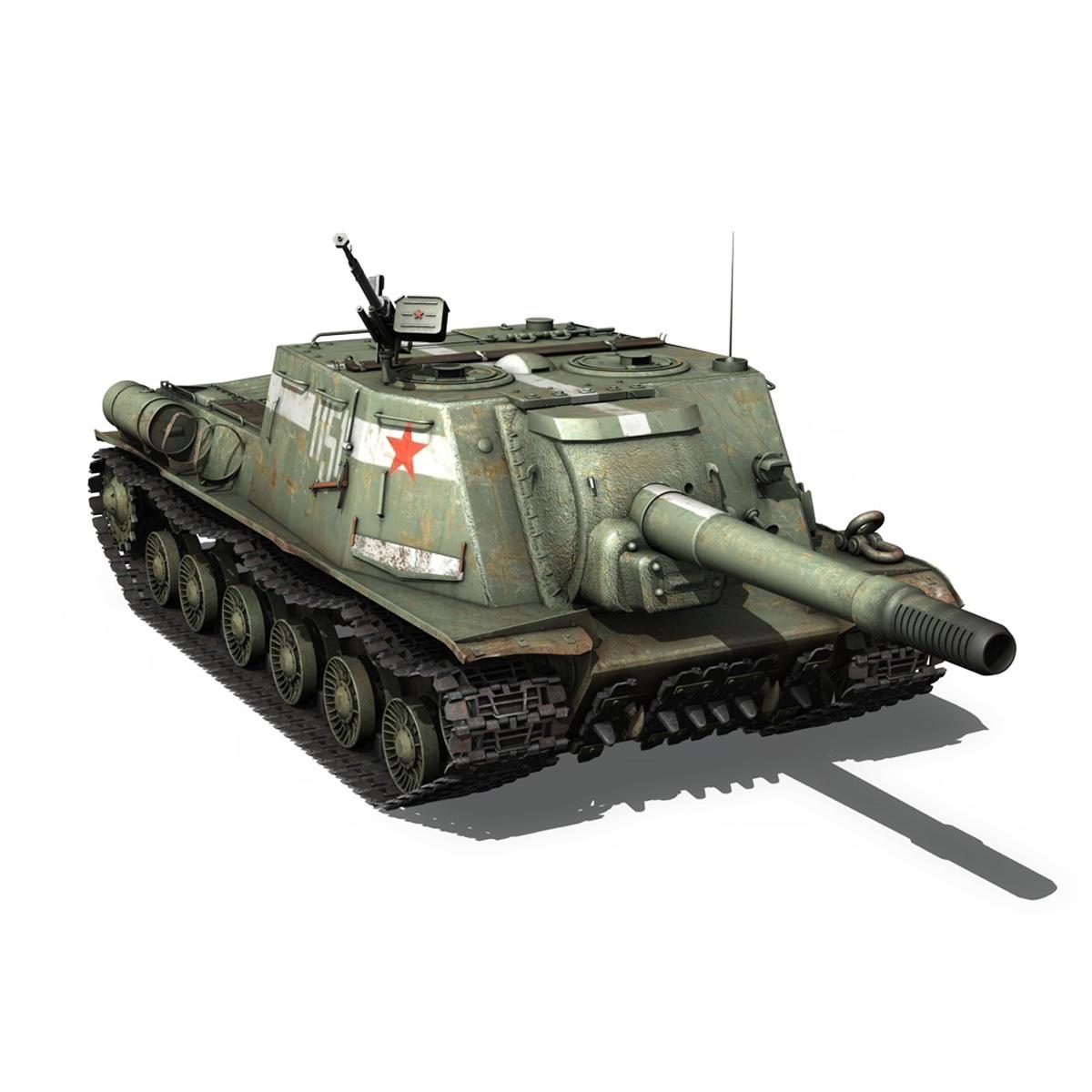 isu 152 soviet heavy self propelled gun 3d model 3ds fbx c4d lwo obj 187531