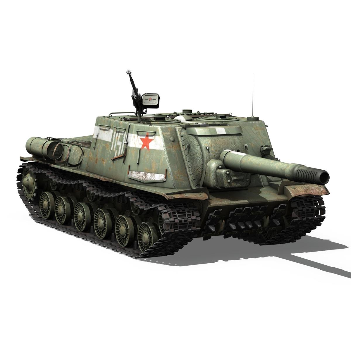 isu 152 soviet heavy self propelled gun 3d model 3ds fbx c4d lwo obj 187532