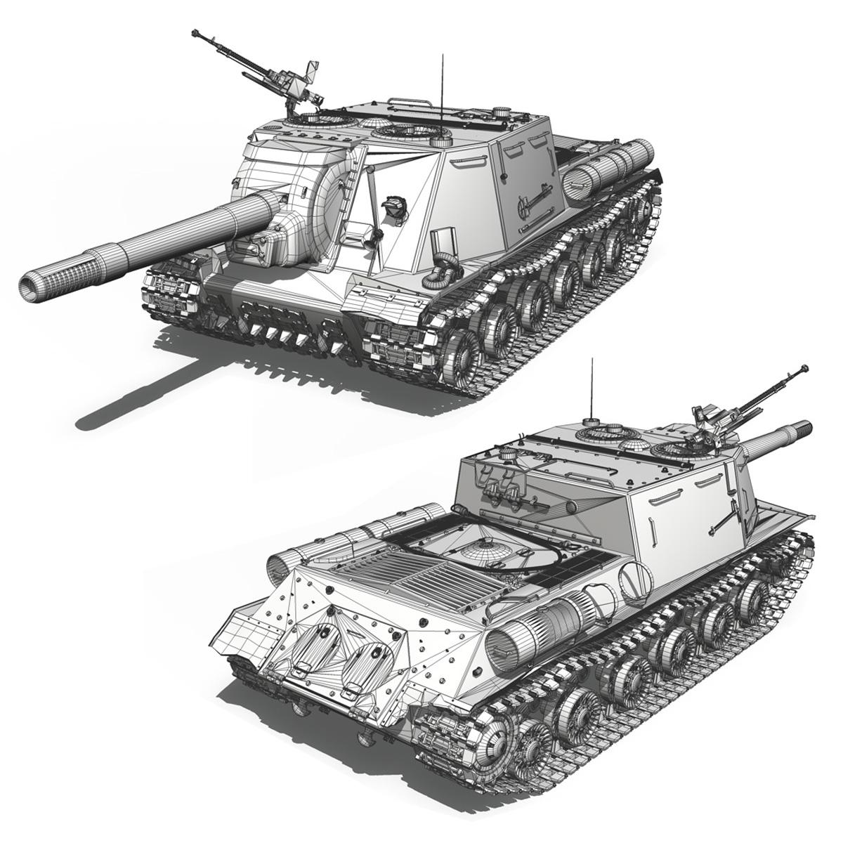 isu 152 soviet heavy self propelled gun 3d model 3ds fbx c4d lwo obj 187534
