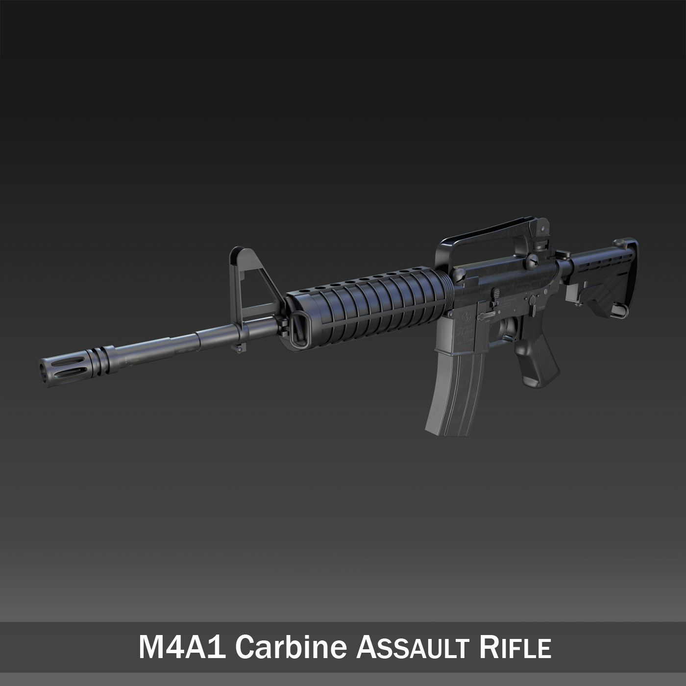 colt m4a1 carbine assault rifle 3d model 3ds fbx c4d lwo obj 187785