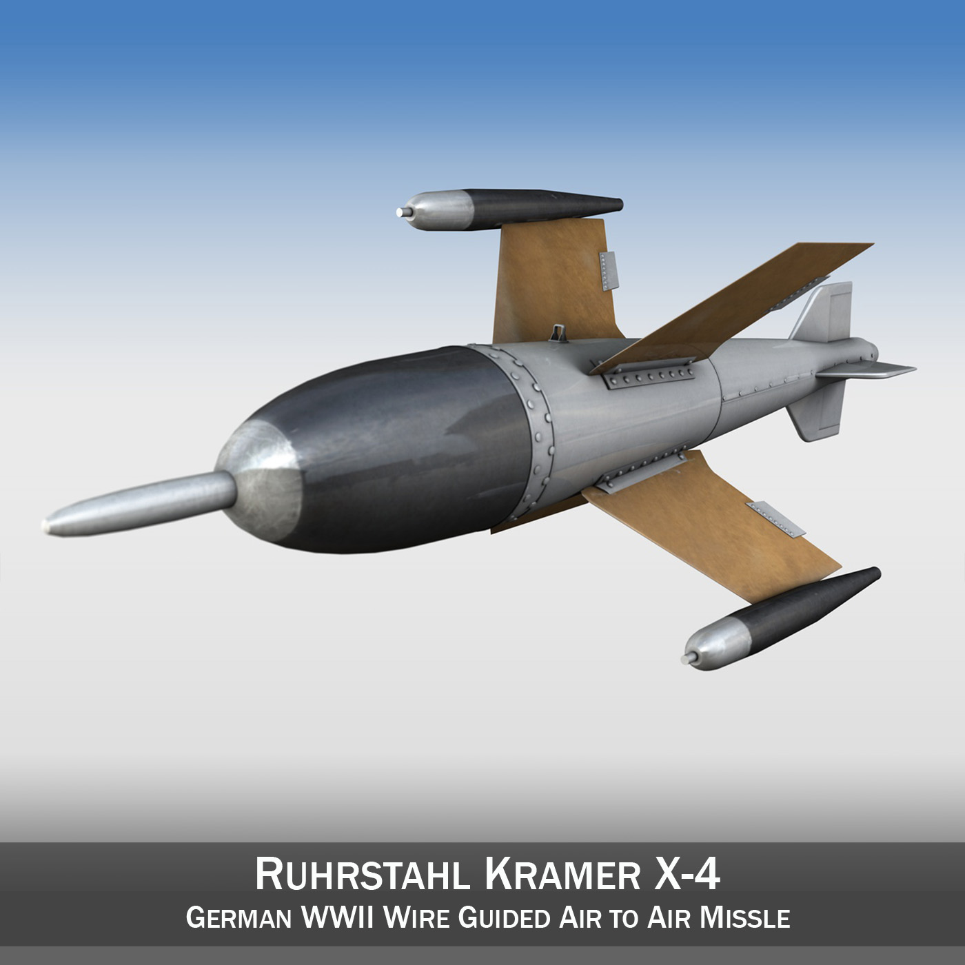 ruhrstahl x 4 german ww2 aa missle 3d model 3ds fbx c4d lwo obj 188138