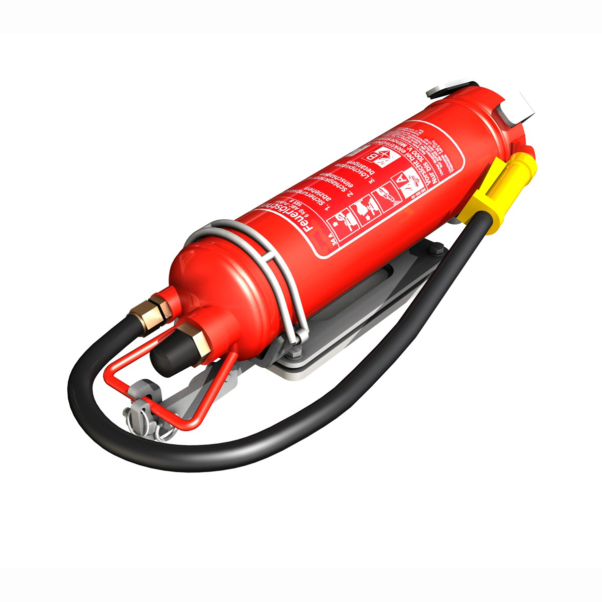 fire extinguisher with vehicle mounting 3d model 3ds fbx c4d lwo obj 188490
