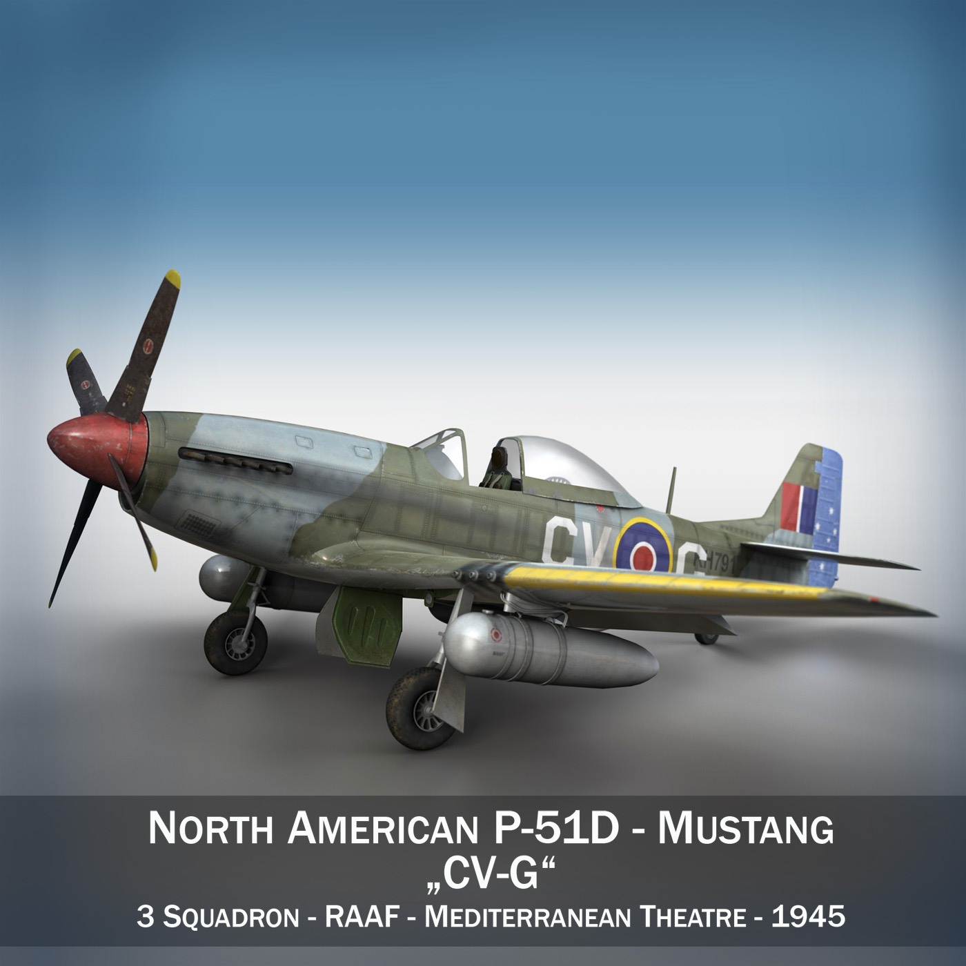 north american p-51d – cv-g 3d model 3ds fbx c4d lwo obj 188566