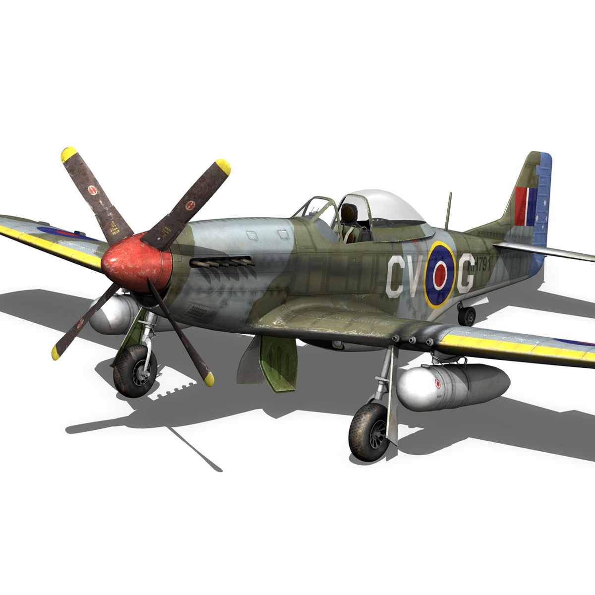 north american p-51d – cv-g 3d model 3ds fbx c4d lwo obj 188567