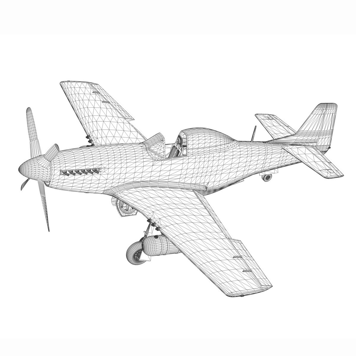 north american p-51d – cv-g 3d model 3ds fbx c4d lwo obj 188575