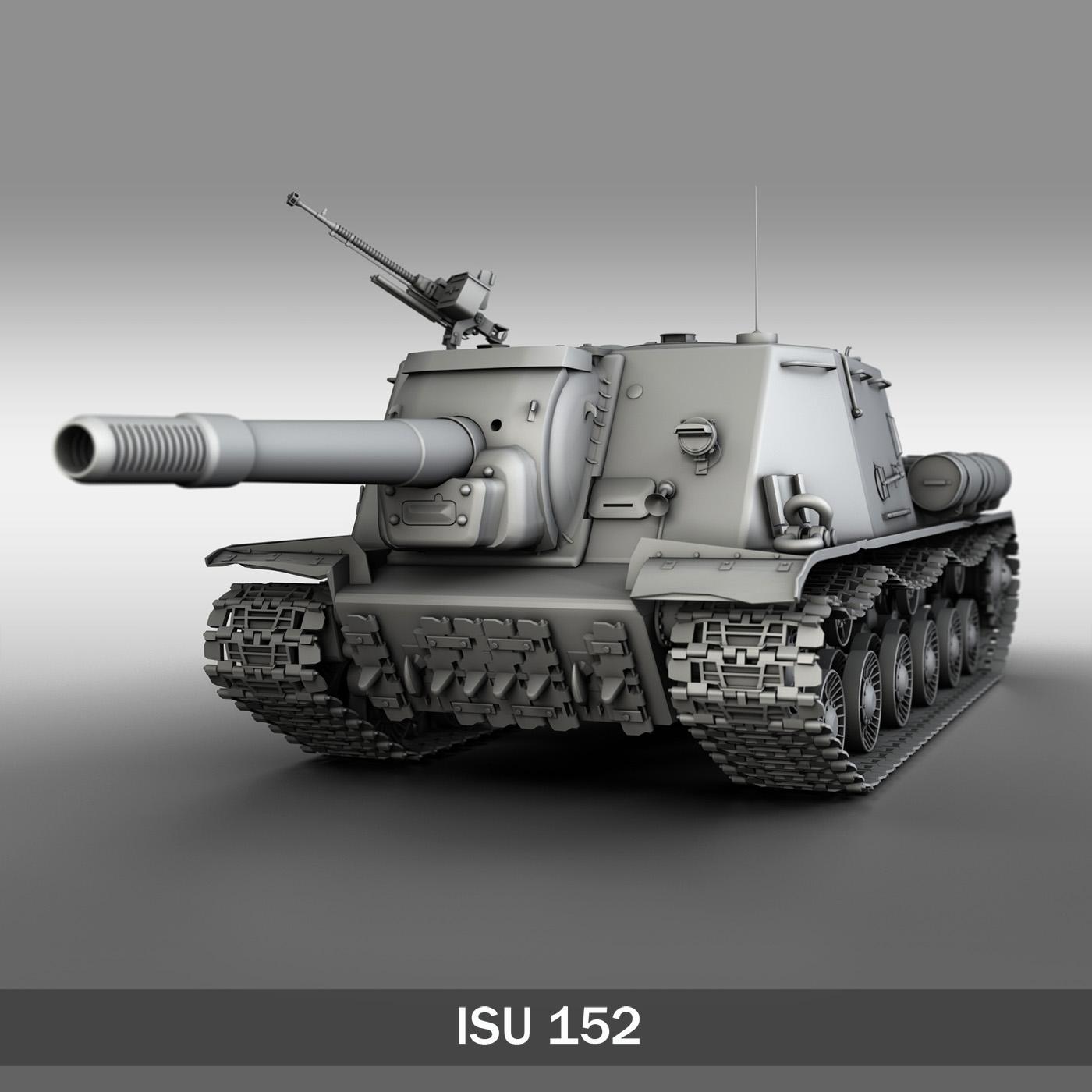 ISU 152 Soviet heavy self propelled gun v2 3d model 3ds fbx c4d lwo obj 188874