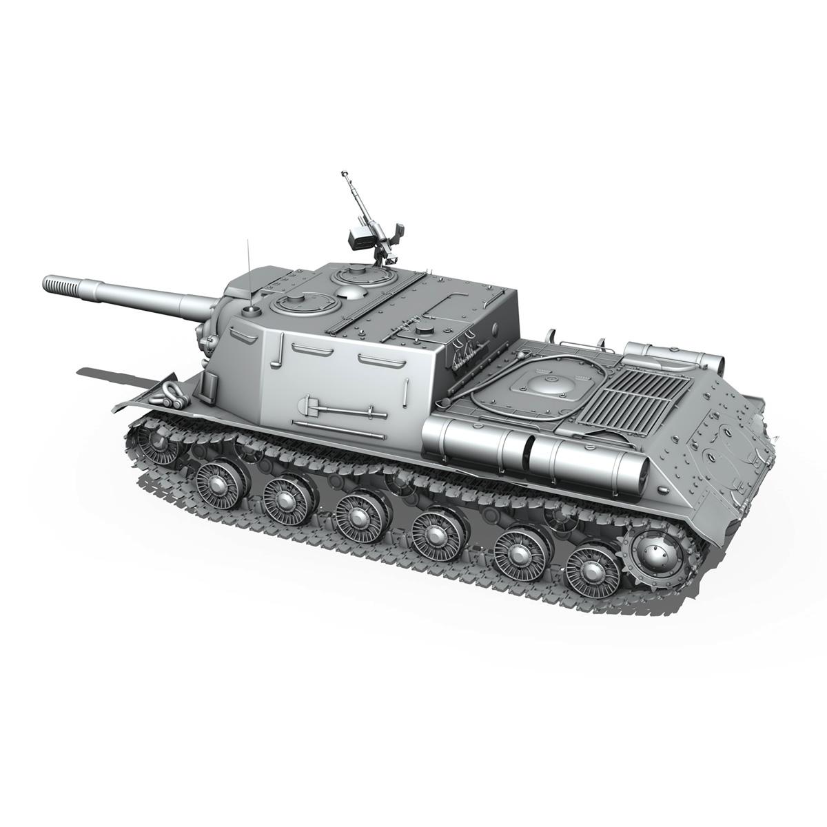 isu 152 soviet heavy self propelled gun v2 3d model 3ds fbx c4d lwo obj 188877