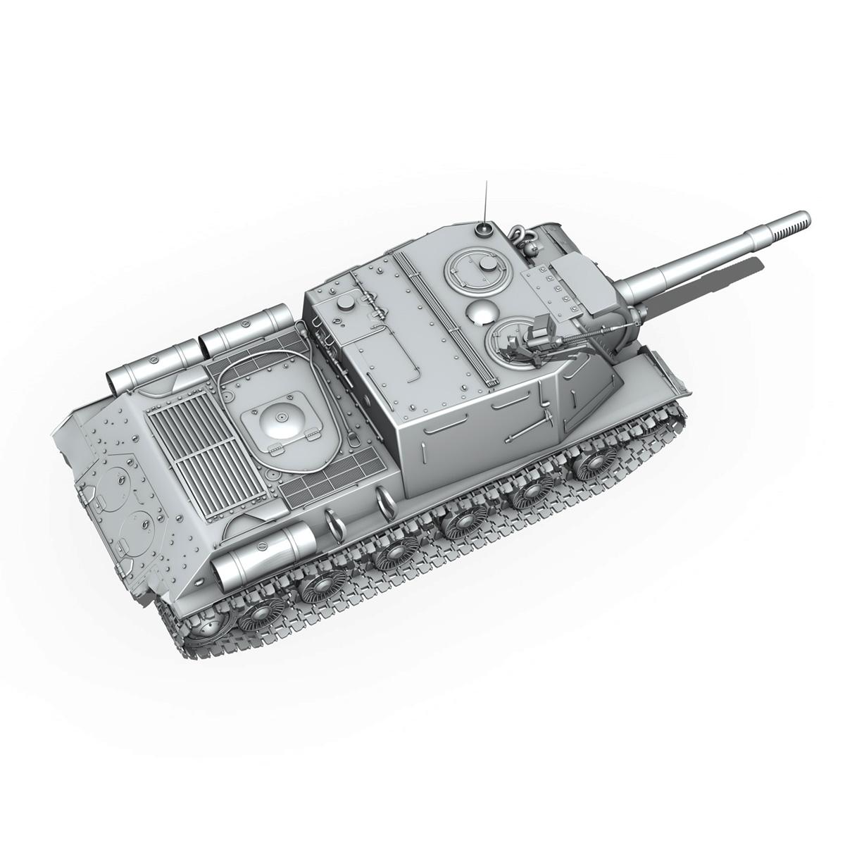 isu 152 soviet heavy self propelled gun v2 3d model 3ds fbx c4d lwo obj 188879