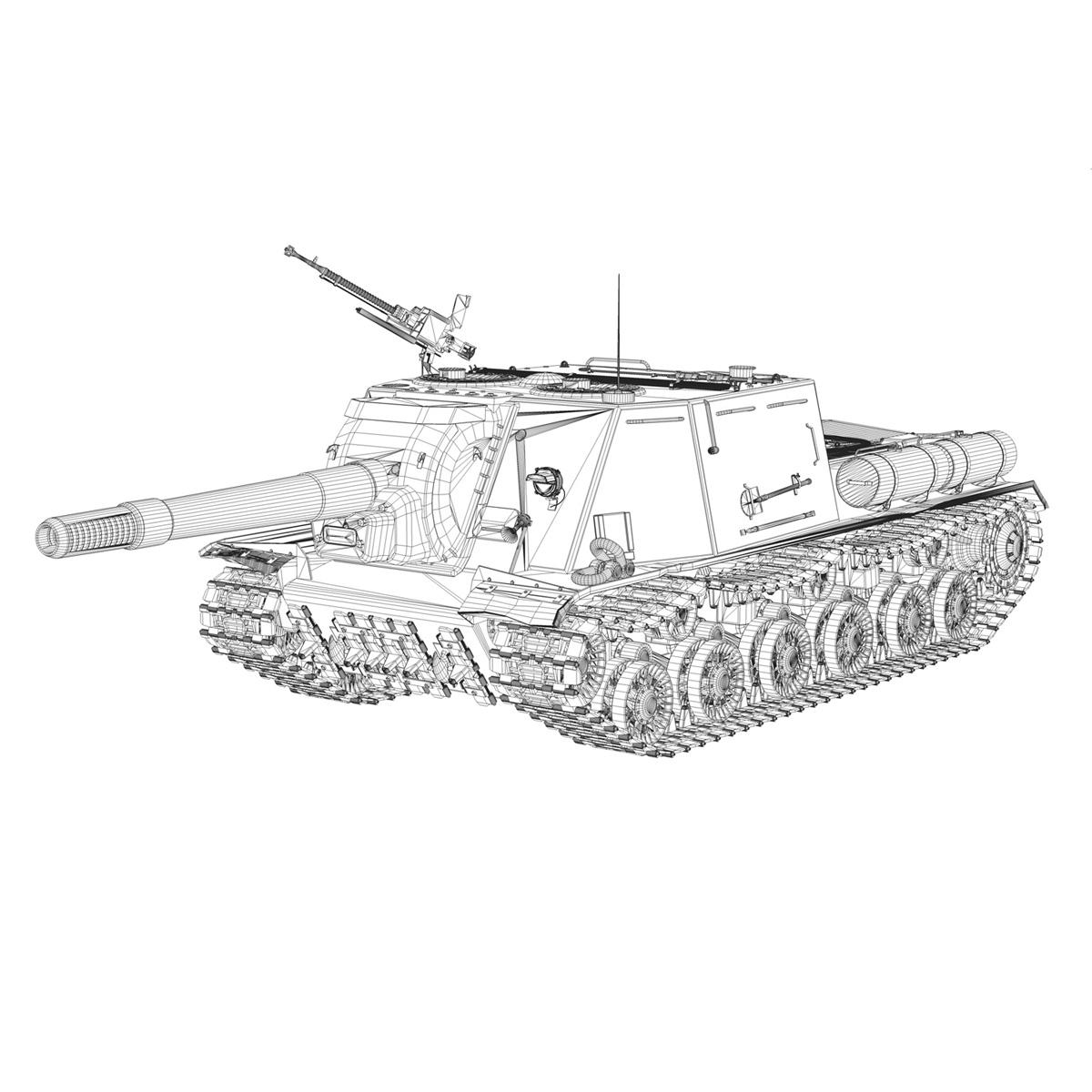 isu 152 soviet heavy self propelled gun v2 3d model 3ds fbx c4d lwo obj 188883