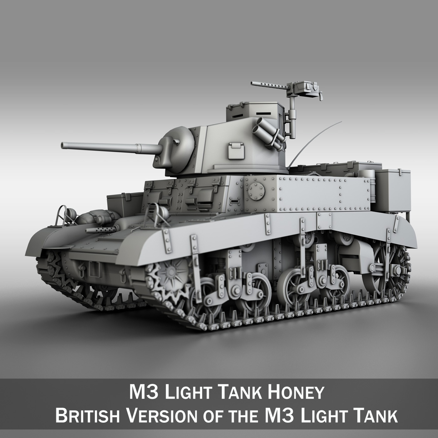 m3 light tank – honey 3d model 3ds fbx c4d lwo obj 188901