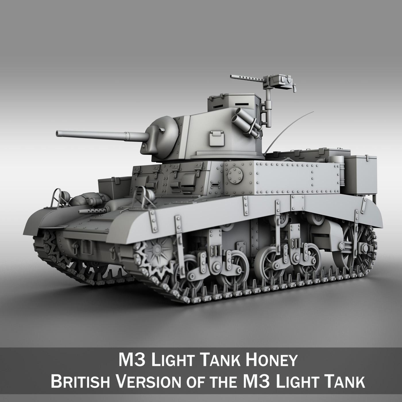 m3 хөнгөн танк - зөгийн бал 3d загвар 3ds fbx c4d lwo obj 188901