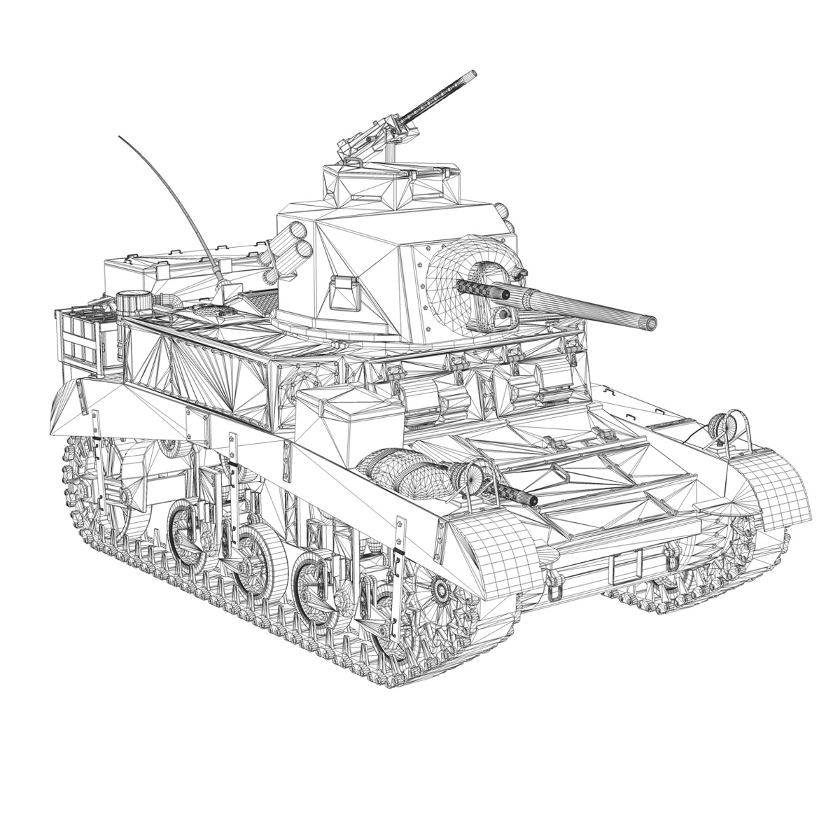 m3 хөнгөн танк - зөгийн бал 3d загвар 3ds fbx c4d lwo obj 188909
