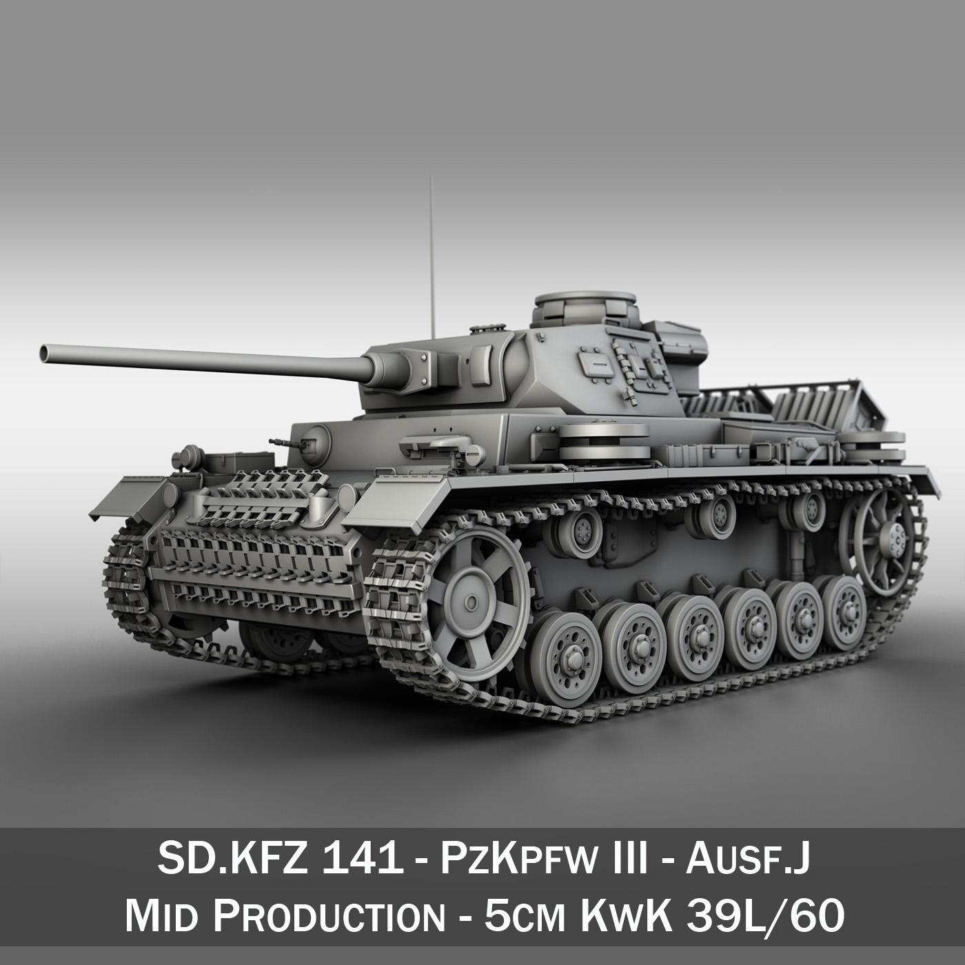 sd.kfz 141 pzkpfw 3 panzer 3 ausf.j 3d model 3ds fbx c4d lwo obj 188991